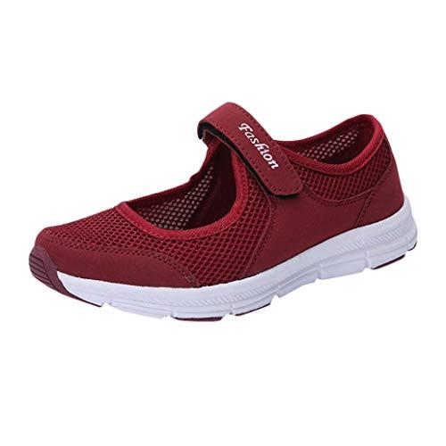 VJGOAL Damen Freizeitschuhe, Damen Mode Soft Anti Slip Klett Sandalen Casual Fitness Laufsport Sommer Falt Schuhe Mutterschaftsschuhe (Wein, 40 EU)