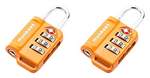Preisvergleich Produktbild munkees 2 x TSA Schloss I Padlock I Zahlenschloss I Lock I Travel Accessoires I Kofferschloss Orange,  361039