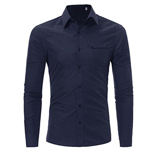 VENMO Mens autumn Neue Casual Long Sleeve Shirt Business Slim Fit Shirt Work Shirts Top Hight Quality Blouse Mode-Persönlichkeits-Männer beiläufige Bluse Schlankes Langarmshirt Tops (M, Navy) (Baumwoll-arbeitshemd Button-down)