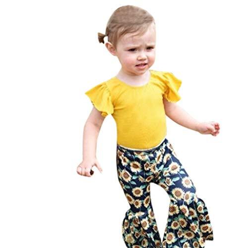 AMUSTER Baby Kinder Mädchen Sommer 2PC Bekleidungssets aus Fliegenhülsen T-Shirt +Schlaghose mit Sonnenblume Drucken Outfits ()