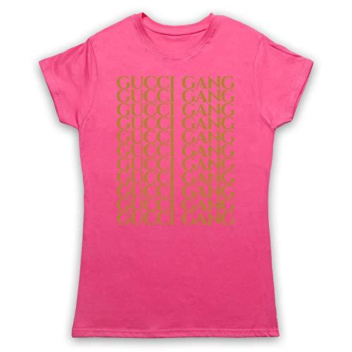 Inspired Apparel Inspiriert durch Lil Pump Gucci Gang Gold Print Inoffiziell Damen T-Shirt, Rosa, Small