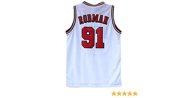 N Collezione Unisex-Fan Versione aggiornata 91 Chicago Bulls Lassic White Senza Maniche Maglia da Basket da Uomo 91# Maglia Dennis Rodman