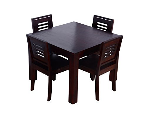 Ringabell Square Four Seater Solid Wood Dining Table (Mahogany Finish)