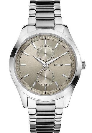 Guess Men's Quartz Watch with Beige Dial Analogue Display and Silver Stainless Steel Bracelet W0373G1