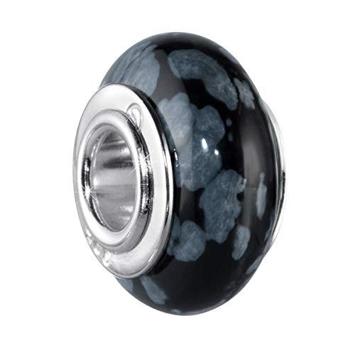 MATERIA Naturstein Beads Obsidian/Schnee Obsidian schwarz grau mit breiter 925 Silber Hülse - deutsche Wertarbeit #334 - Mit Kugel Silber Hülse
