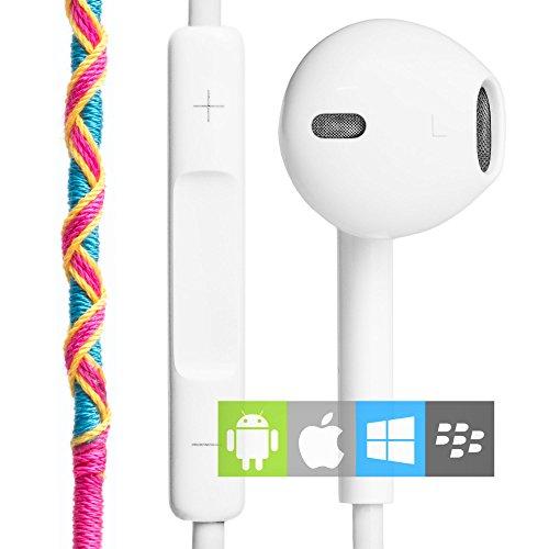 Auriculares in-ear con Cable y Micrófono Estéreo 3.5mm (control remoto integrado) | Cascos deportivos con manos libres y control de volumen azules y amarillos | Auriculares en la oreja para el móvil, manos libres