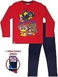 Lego Wear - 2-TLG. Jungen Schlafanzug lang, Kinder Pyjama Langarm + 3 Paar Socken Gratis
