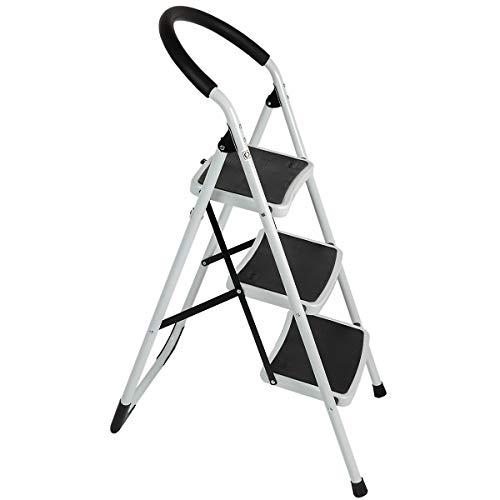 newpo Trittleiter | 3 Stufen | 150 kg Traglast | Grau | Stehleiter Haushaltsleiter Klappleiter Klappstufen Klapptritt