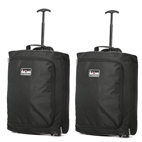 Lotto 2 55x40x20 cm cabina massima Ryanair bagaglio a mano Approvato Trolley, 42L (nero)