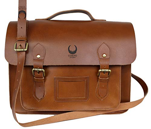 Corno d´ORO Herren Leder Schultertasche, große Umhängetasche bis 15.6 Zoll Laptoptasche, leichte Aktentasche Vintage Echtleder braun 8959