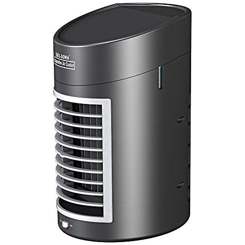 Mini-Klimagerät Tischventilator für Luftbefeuchtung und Luft-Kühlung tragbar und mobil mit Batterie-Betrieb Luft-ventilator Mit Batterie Betrieben