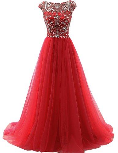 JAEDEN Kappenhuelse Tuell Ballkleider Lang A Linie Abendkleid Festkleid Partykleid Rot