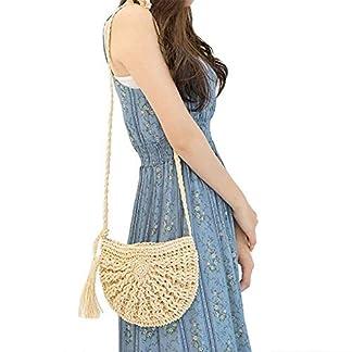 SODIAL Paja de Crossbody del hombro de la armadura de las mujeres bolsa redonda de playa del verano Monedero y bolsos (Caqui)