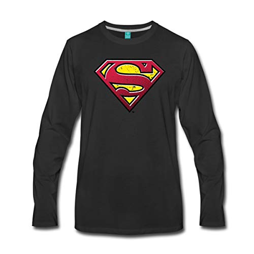Steel Kostüm Of Mann Shirt - DC Comics Superman Logo Used Look Männer Premium Langarmshirt, XXL, Schwarz