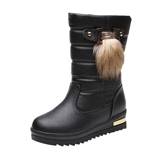 Stiefel damen Kolylong® Frauen Elegant Stiefel PU Leder Herbst Winter Warme Schneestiefel Mädchen (40, Schwarz)