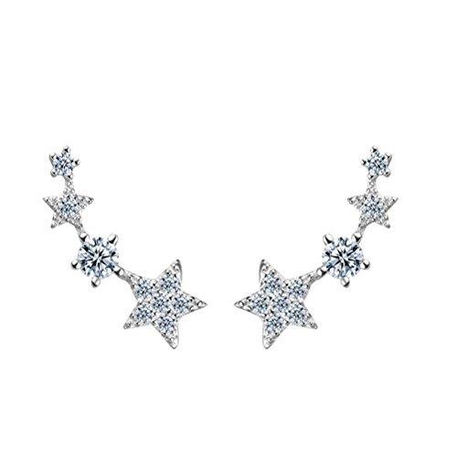 S&E Donna Orecchini in argento sterling Shooting Ear Stelle Design cristallo Cuff - 925 Polsino Di Gioielleria