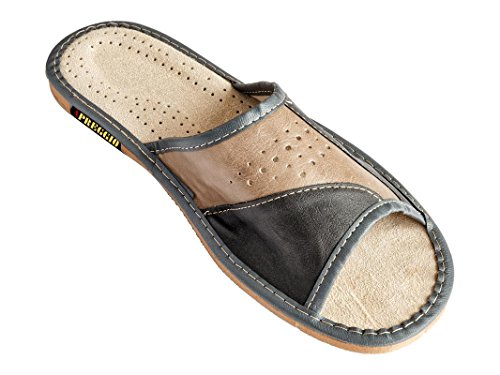 Apreggio Hausschuhe Herren Pantoffeln Leich Natural 100% Leder Naturprodukt Handgefertigt Braun Fester Sohle Komfort Bequeme Weich_42 EU_Aschgrau