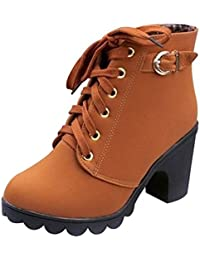SHOWHOW Damen Tarnung Schnürstiefeletten Kurzschaft Stiefel mit Absatz Militär-Grün 38 EU 3B8F4636H