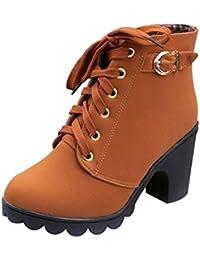 SHOWHOW Damen Tarnung Schnürstiefeletten Kurzschaft Stiefel mit Absatz Militär-Grün 38 EU