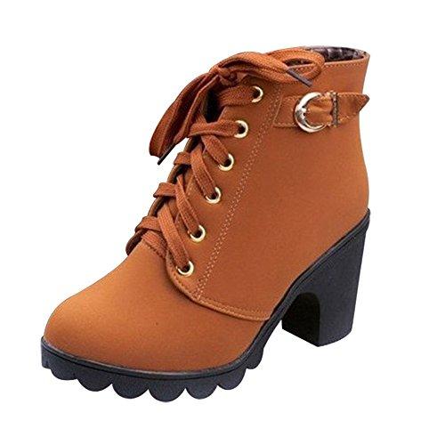 Donna-Stivali-Classico-Boot-hibote-Scarpe-Tacco-con-Cinturino-Punta-Rotonda-Lace-Up-Stivaletti-Donna