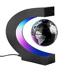 Idea Regalo - Surplex C Forma Globo Fluttuante con LED a Levitazione Magnetica, Mappamondo Magnetico con Luce LED per Casa Ufficio Decorazione Regali d'Affari Studente Educazione - Nero