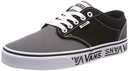 Vans Herren Atwood Canvas Sneaker, Schwarz ((Sidewall Logo) Black/Gray Veg), 40 EU - Grau Wildleder Skate Schuh