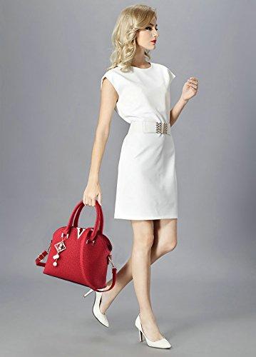 Tisdaini Nouveau sac à main femme sac à bandoulière sac à main sac à main portefeuille avec petit pendentif vino rosso