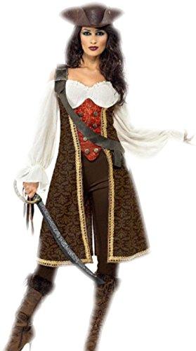 erdbeerloft - Damen Piratenkostüm Jacke mit aufgesetzter Weste vorne und Bluse, Hose, Bald Preisvergleich