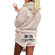 Hibote Pijama de otoño Invierno Mujer Pijama de Dos Piezas Conjunto cálida Lana de Coral Traje