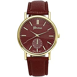 Familizo Unisex Leather Band Analog Quartz Vogue Wrist Watches Brown