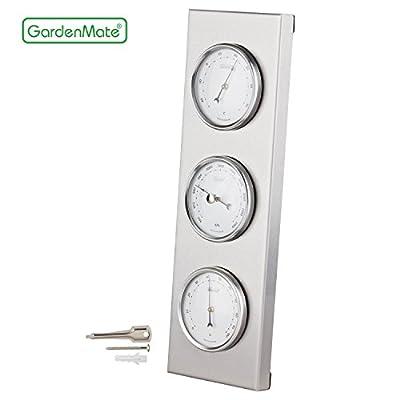 GardenMate® Wetterstation analog BOB Edelstahlrahmen 30x10cm Barometer Thermometer Hygrometer von GardenMate® - Du und dein Garten