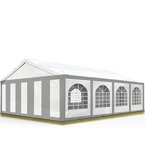 TOOLPORT Hochwertiges Partyzelt 5x8 m Pavillon Zelt 240g/m² PE Plane Gartenzelt Festzelt Bierzelt Wasserdicht grau-weiß