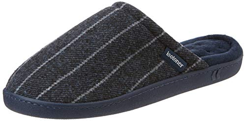 the best attitude 8bd69 97881 Isotoner Pinstripe Woven Mule Slippers, Pantoufles Homme, Blue (Navy Nav),  Large
