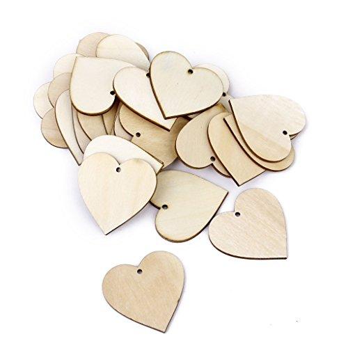 Rcdxing Environ 25 cœurs en bois à suspendre Décoration Pendentif