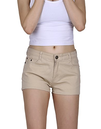 HDE Womens Solid Colour 5-Pocket Fitted Low Rise Ultra Stretch Denim Booty Shorts