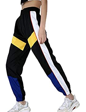 2018 Otoño Moda Mujeres Pantalones De Cintura Alta Patchwork Pantalones Lápiz Streetwear Cargo Pantalones Sueltos...