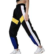 Mujer Pantalones Harajuku Hip Hop Streetwear Pantalones Estilo Callejero  Empalmados Pantalones Deportivos De Cintura Alta S 964fb014c61