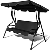 COSTWAY Garden Swing Chair Patio Outdoor Metal Hammock Swinging Bench Lounger (3-seater) (Black)