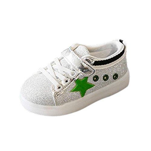 Baby Schuhe Sonnena Baby Mode Turnschuhe LED Licht Stern Kinder Kleinkind lässig bunt Leichte Schuhe Unisex / Klettverschluss / PU / Gummi / 1 Paar Babyschuhe (21, Schöne Grün)