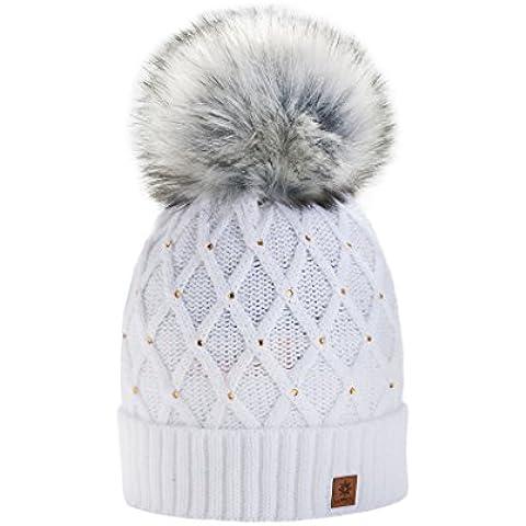 Mujer Cristales Beanie sombrero hat Crystal Gran forro Pom Pom gorro de invierno cálido forro polar multicolor blanco M/L