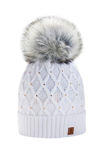 Wurm Winter Strickmütze Mütze Damen Kristalle Kiesel mit Große Pelz Bomme Pompon l SKI (White) ( MFAZ Morefaz Ltd)
