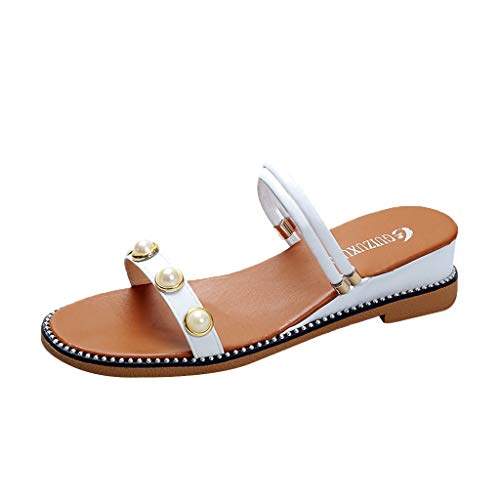 BURFLY Damen Sommer Wort Perlen mit römischen Sandalen Strandschuhe Flache Sandalen Casual Schuhe Zwei Möglichkeiten