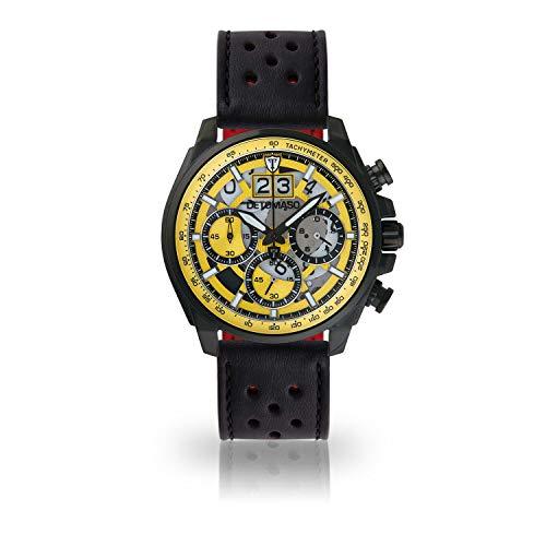 DETOMASO LIVELLO Mens Wristwatch Chronograph Analogue Quartz Black Racing Leather Strap Yellow dial DT2060-A-841