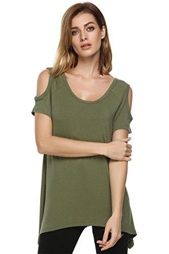 Zearo Mode Damen Shirt Schulterfrei Sexy Freizeit Rundhals Ausschnitt Kurz Ärmel unregelmäßiges T-Shirt Tops Armee Grün