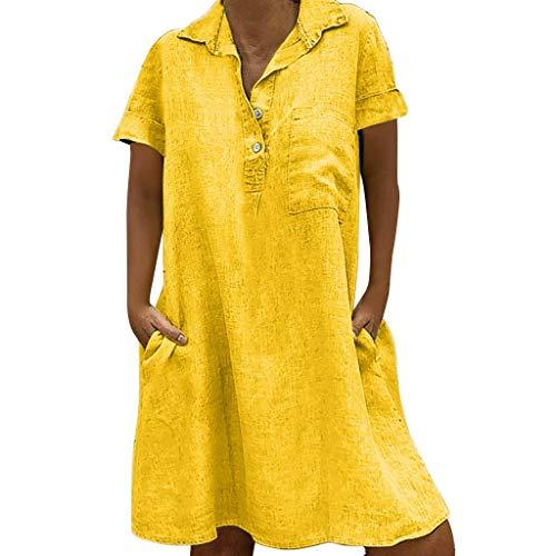 LOPILY Damen Sommerkleider Einfarbig Einfach Bequem Freizeit Minikleid Frauenkleid mit Knopf Lose...