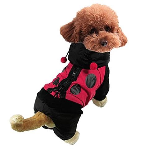 Yuncai Lustige Marienkäfer Verkleidung Kostüm für Haustier Cosplay Halloween Party Hund Kleidung Schwarz (Marienkäfer-kostüm Bilder)