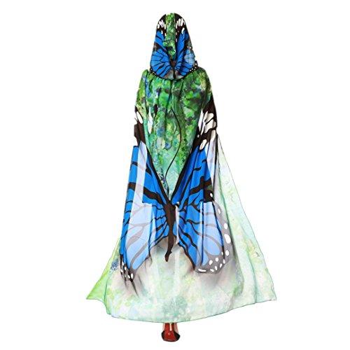 HLHN Halloween Party Kapuzen Umhang, Kürbis Druck Hexe Zauberer Chiffon Karneval Fasching Kostüm Cape mit Kapuze (Blau Schmetterling)