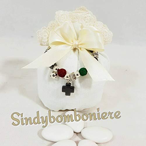 Sacchetto bomboniera per confetti con bracciale rosario con crocetta confetti