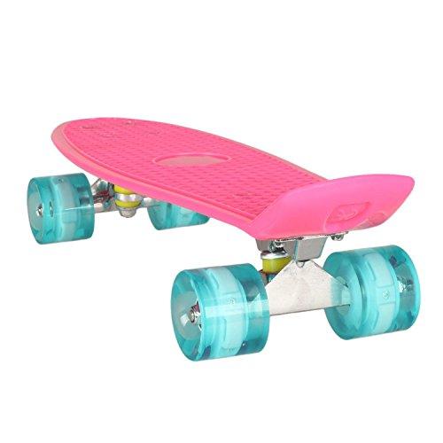 Gfone Retro Skateboard Komplettboard, 22 Zoll 55cm Skateboard mit LED-Rollen in 9 Farben, Mini Cruiser Board mit LED Leuchtrollen für Erwachsene Kinder Jungen Mädchen (EU Lager)