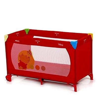Hauck 601112 Dream'n Play Go - Cuna de viaje, parque de juegos con diseño de Winnie the Pooh (60 x 120 cm, 2 ruedas), color rojo